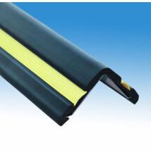 Nagy ütközésállóságú sarokélvédő gumiprofil, ütközéshárító sáv 100×100 mm, 3 méteres szálban